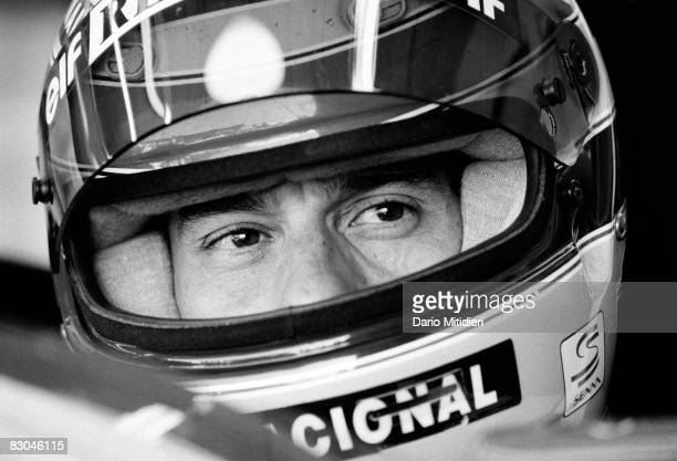 Brazilian Formula 1 race car driver Ayrton Senna in his car during a qualifying round of the San Marino F1 Grand Prix on the Imola Circuit Imola...