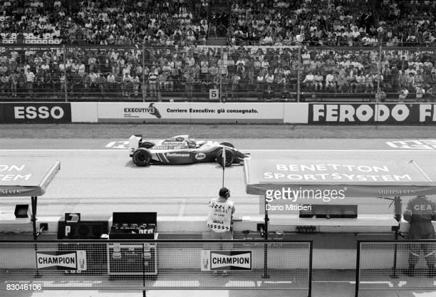 Brazilian Formula 1 race car driver Ayrton Senna on the first lap of the San Marino Grand Prix at the Imola Circuit Imola Italy May 1 1994 Ayrton...