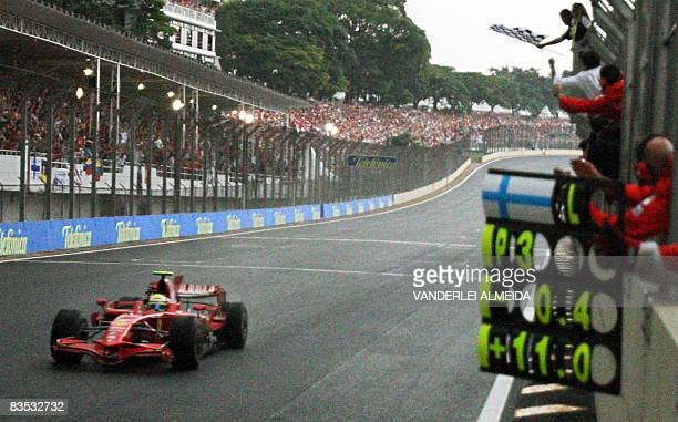 Brazilian Formula One driver Felipe Massa wins Brazil Grand Prix at the Interlagos circuit in Sao Paulo Brazil on November 2 2008 Lewis Hamilton was...