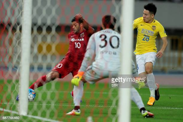 Brazilian forward Hulk of China's Shanghai SIPG prepares to take a shot during the AFC Champions League round of 16 football match against China's...