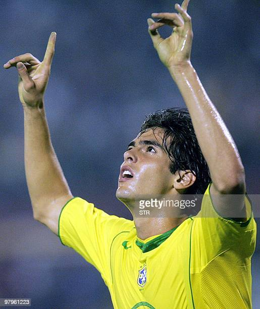 Brazilian forward Kaka celebrates after scoring against Venezuela 09 October 2004 during their FIFA World Cup Germany 2006 qualifying match at the...