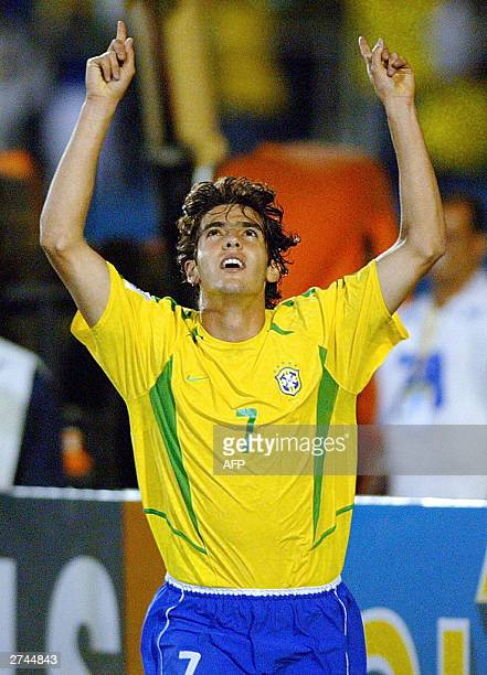 Brazilian forward Kaka celebrates his goal against Uruguay 19 November 2003 during a match in Curitiba Brazil for the South American qualifiying...