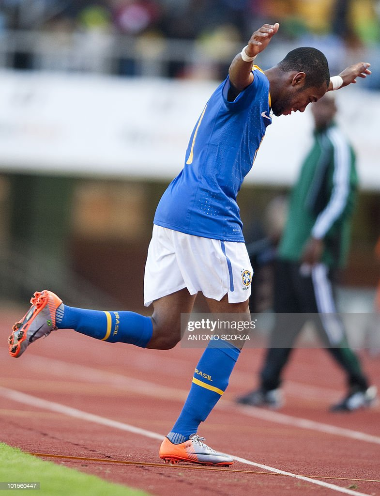 Brazilian forward Robinho dances as he celebrates his goal against Zimbabwe during a friendly football match at the National Sport Stadium on June 2, 2010 in Harare. The Brazilian national team is preparing for the 2010 FIFA World Cup in South Africa.