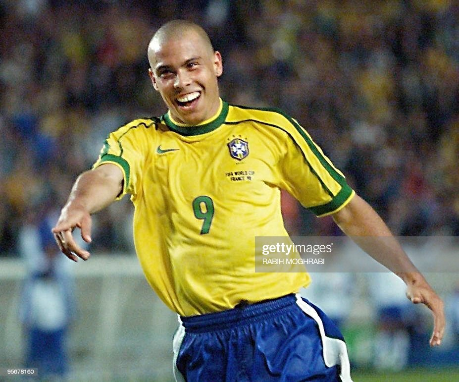 Brazilian forward Ronaldo jubilates after scoring a goal, 27 June at the Parc des Princes stadium in Paris, during the 1998 Soccer World Cup second round match between Brazil and Chile. Brazil won 4-1, with two goals by Cesar Sampaio and two by Ronaldo.