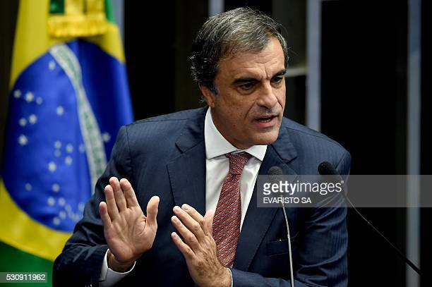 Brazilian General Attorney Jose Eduardo Cardozo speaks in defense of Brazilian President Dilma Rousseff during a vote session on suspending Rousseff...
