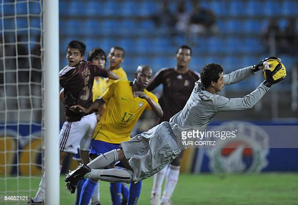 Brazilian goalkeeper Renan Ribeiro catches the ball against Nenezuela during a match of the U20 South American football Championships on February 04...