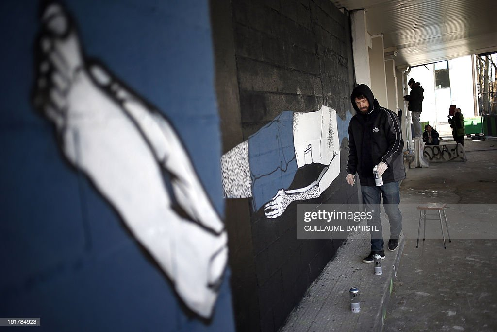 ECHEVERRIA - Brazilian Graffiti artist Herbert Baglione paints a wall during a street performance on February 16, 2013 in Paris. AFP PHOTO / GUILLAUME BAPTISTE