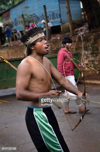 Brazilian guarani indigenous from the 5 Jaraguá villages in Sao Paulo Brazil protest during the national general strike day this Friday Besides...