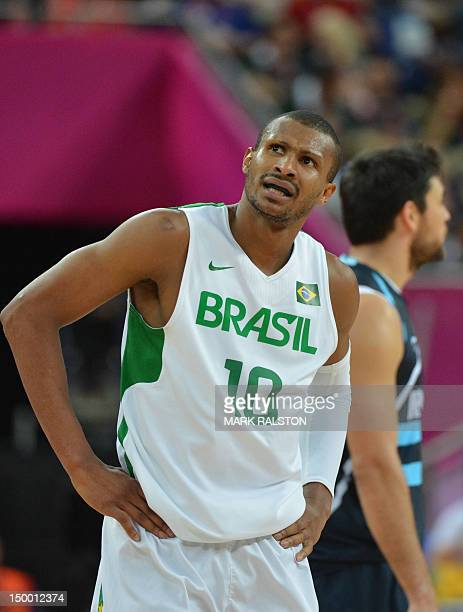 Brazilian guard Leandrinho Barbosa reacts after losing 8277 to Argentina during their London 2012 Olympic Games men's quarterfinal basketball match...