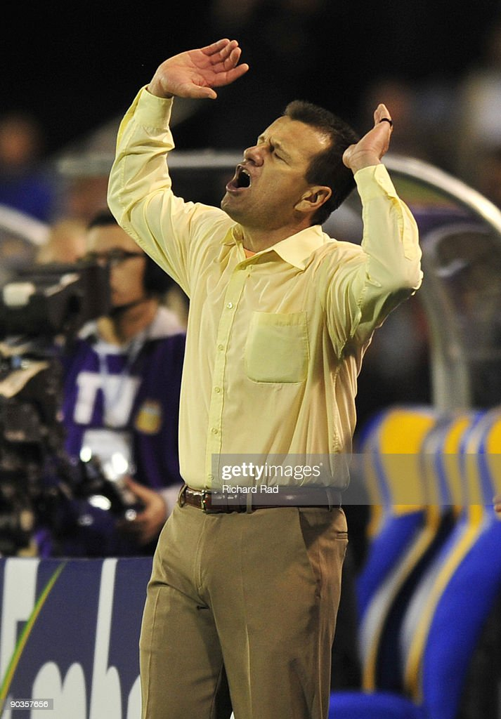 Brazilian head coach Dunga reacts after a referee's decision against his team in a 2010 FIFA World Cup qualifier against Argentina at the Gigante de...