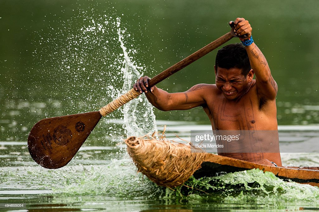 Brazilian indigenous native practices canoeing during the first World Indigenous Games on October 25 2015 in Palmas Brazil