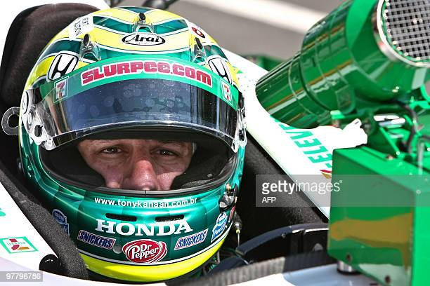 Brazilian IndyCar driver Tony Kanaan stops in the pits on March 13 during the first practice for the Sao Paulo Indy 300 at the Sambodrome in Sao...