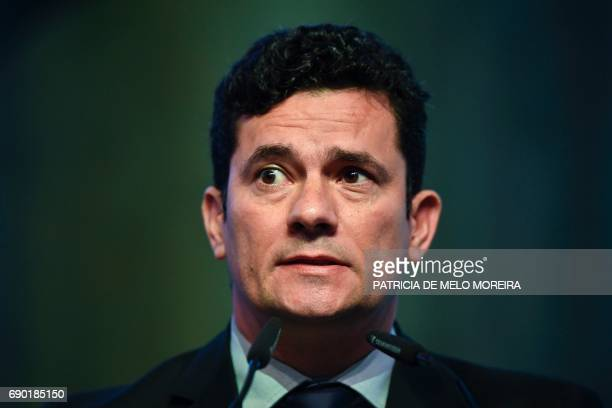 Brazilian Judge Sergio Moro Sergio Moro delivers a speech at the debate at the 'Estoril Conferences Global Challenges Local Answers' held at Estoril...