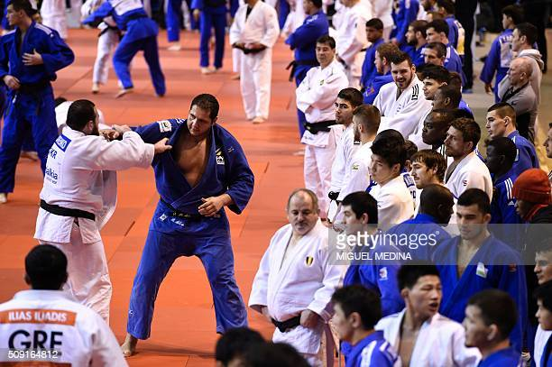 Brazilian judoka Rafael Silva takes part in the international Paris Grand Slam 2016 training at the sporthall Carpentier in Paris on February 9 2016...