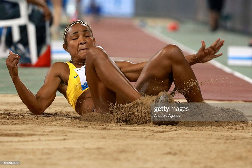 Brazilian Keila da Silva Costa competes in the women's triple jump event at the Diamond League athletics competition at the Qatars Sports Club Stadium in Doha on May 6, 2016.
