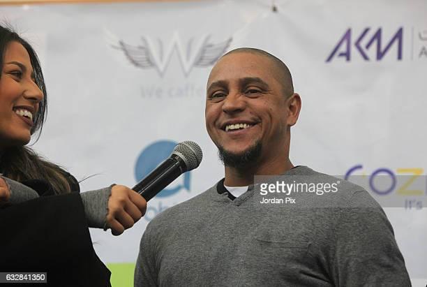 Brazilian legend footballer ambassador for Real Madrid footballer Roberto Carlos arrives at Jordan Blancos Academy to take photos with Jordanian...