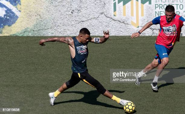 Brazilian Manchester City player Gabriel Jesus plays during a match of the finals of the fiveaside global tournament organized by Brazilian star...