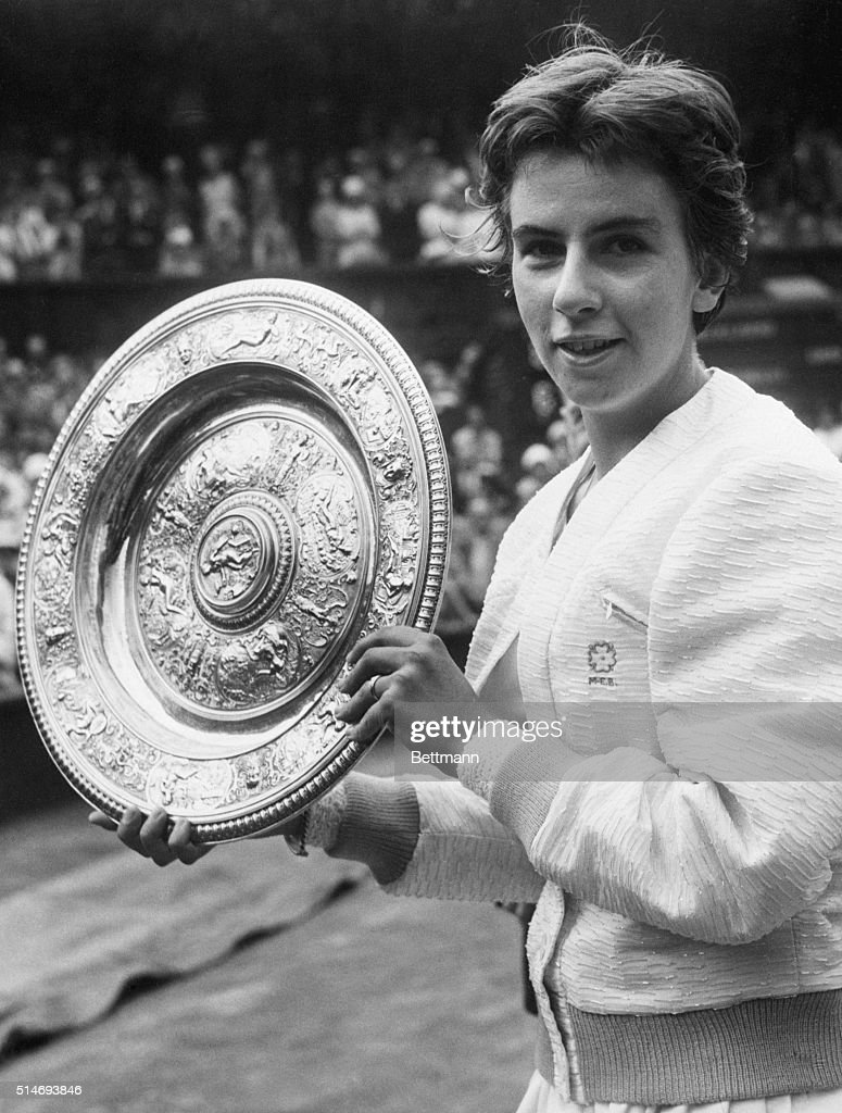 Maria Bueno Holding Wimbledon Trophy
