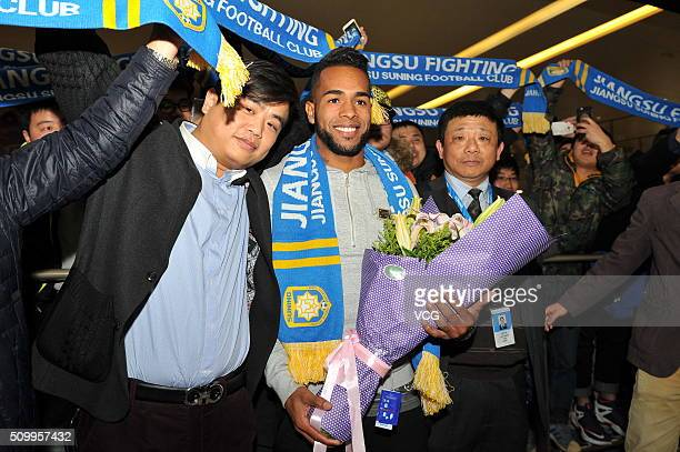 Brazilian midfielder Alex Teixeira arrives at Nanjing Lukou International Airport on February 13 2016 in Nanjing China Alex Teixeira has signed a...