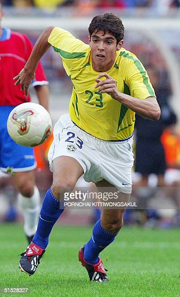 Brazilian midfielder Kaka in action during the Group C match against Costa Rica at the 2002 FIFA World Cup Korea/Japan in Suwon 13 June 2002 Brazil...