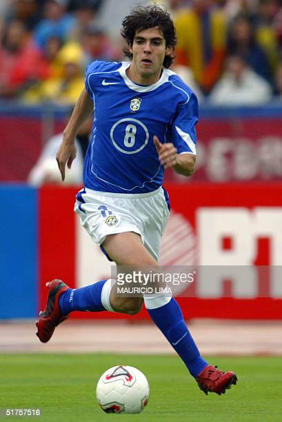 Brazilian midfielder Kaka of the Italian Milan follows the ball during the FIFA World Cup Germany 2006 South American qualifying round with Ecuador...
