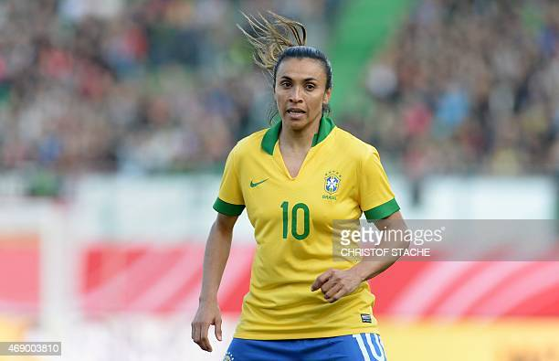 Brazilian midfielder Marta is pictured during the friendly women football match between Germany and Brazil in the stadium in Fuerth southern Germany...