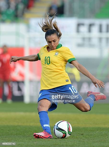 Brazilian midfielder Marta plays the ball during the friendly women football match between Germany and Brazil in the stadium in Fuerth southern...