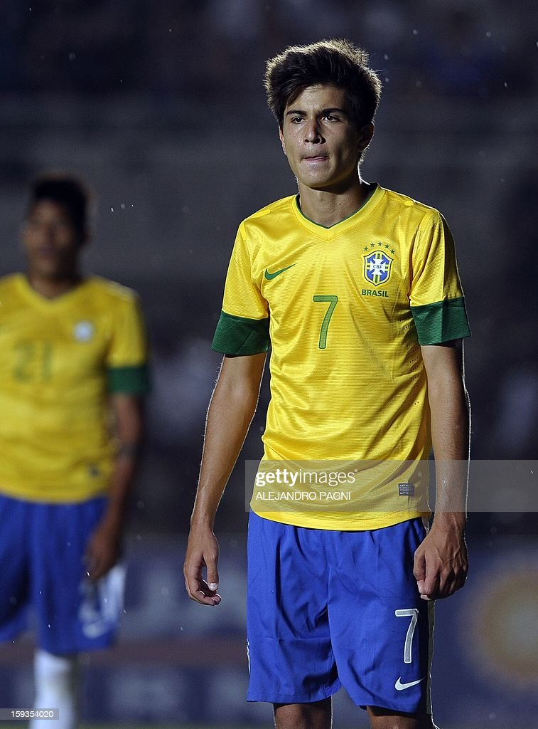 Brazilian midfielder Nico Mattheus (R) --son of former star footballer Bebeto, world champion with Brazilian national team in the WC-USA 1994-- gestures during their South American U-20 Championship Group B football match against Ecuador, at Bicentenario stadium in San Juan, Argentina, on January 10, 2013. Four South American teams will qualify for the FIFA U-20 World Cup Turkey 2013. The match ended in a 1-1 draw.