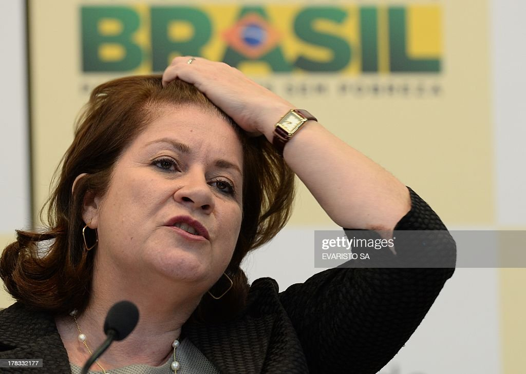 Brazilian Minister of Planning, Miriam Belchior during a press conference talking about the increase in the budget for 2014, in Brasilia on August 29, 2013. . AFP PHOTO/Evaristo SA
