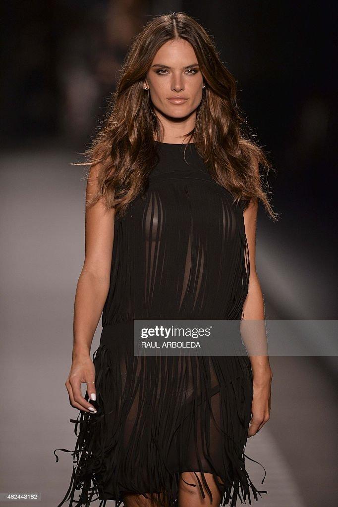 Brazilian model Alessandra Ambrosio presents a creation by Colombian designer Jorge Duque during the Colombiamoda fashion show in Medellin Antioquia...
