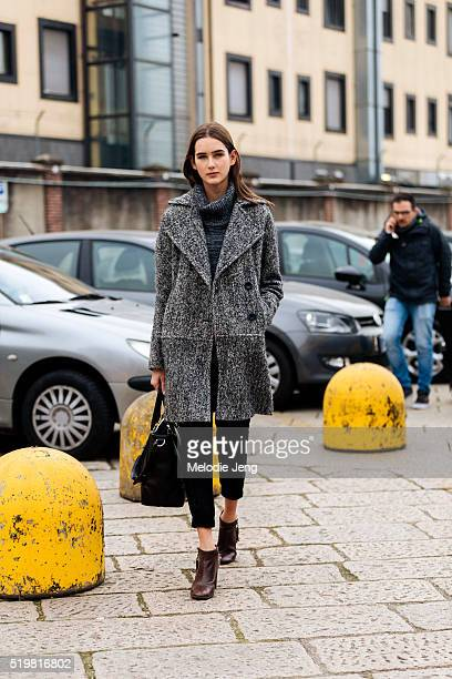 Brazilian model Alexia Bellini after the Gucci show during the Milan Fashion Week Fall/Winter 2016/17 on February 24 2016 in Milan Italy