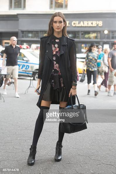 Brazilian model Alexia Bellini exits the Mara Hoffman show in a jacket by Karl Lagerfeld top by Aritiza and bag by Givenchy on Day 3 of New York...