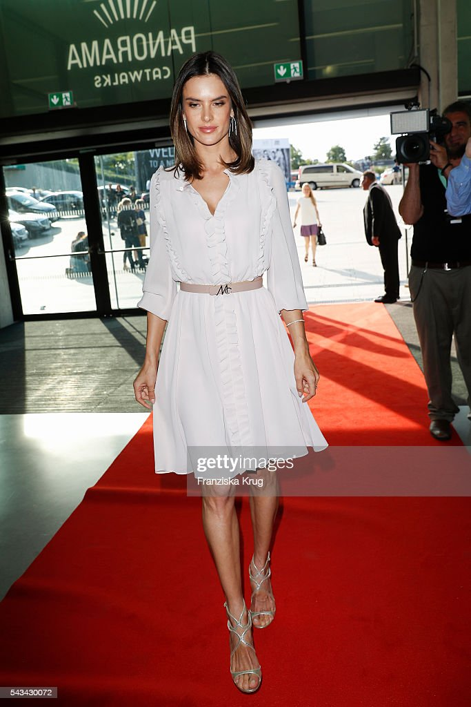 Brazilian model and actress Alessandra Ambrosio attends the Marc Cain show Spring/Summer 2017 at CITY CUBE Panorama Bar on June 28, 2016 in Berlin, Germany.