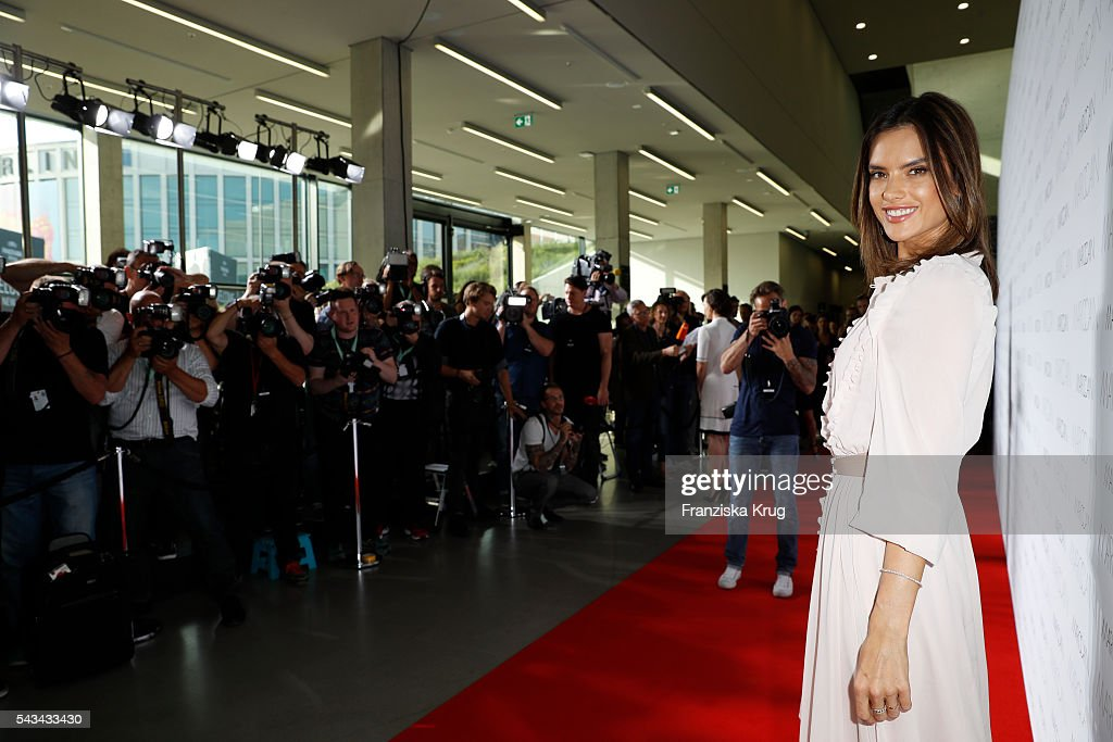 Brazilian model and actress <a gi-track='captionPersonalityLinkClicked' href=/galleries/search?phrase=Alessandra+Ambrosio&family=editorial&specificpeople=203062 ng-click='$event.stopPropagation()'>Alessandra Ambrosio</a> attends the Marc Cain show spring/summer 2017 at CITY CUBE Panorama Bar on June 28, 2016 in Berlin, Germany.