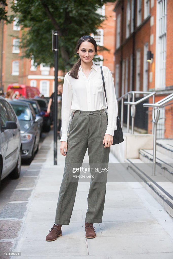 Brazilian model Bruna Tenorio exits Giles in a Ralph Lauren Outfit on Day 4 of London Fashion Week Spring Summer 2015 on September 15 2014 in London...