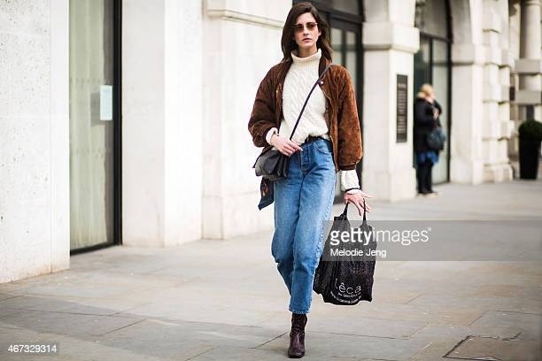 Brazilian model Cris Herrmann during London Fashion Week Fall/Winter 2015/16 at Somerset House on February 22 2015 in London England