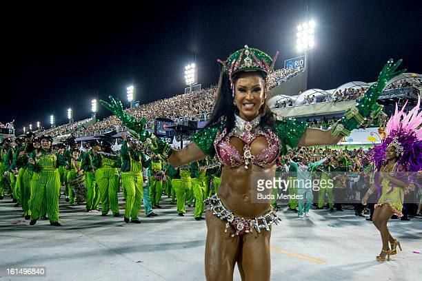Brazilian model Gracyanne Barbosa Queen of Percussion of Mangueira Samba School dances during the parade themed on Cuiaba capital city of Mato Grosso...
