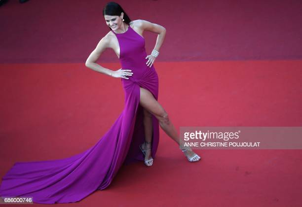Brazilian model Isabeli Fontana poses as she arrives on May 20 2017 for the screening of the film '120 Beats Per Minute ' at the 70th edition of the...
