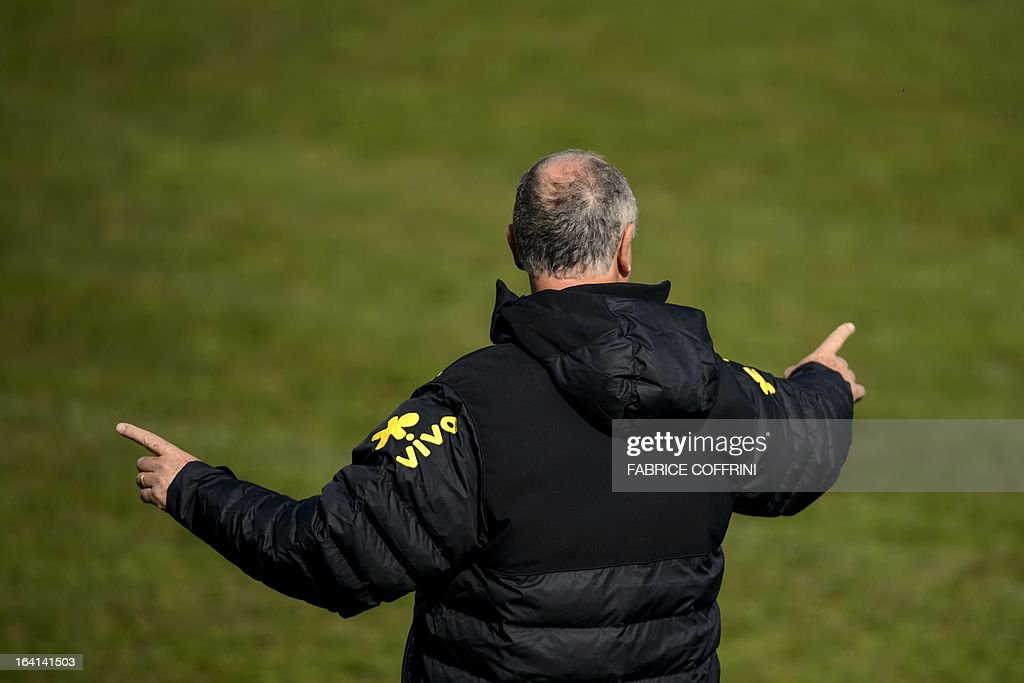 Brazilian national football team head coach Luiz Felipe Scolari gestures during a training session on March 20, 2013 in Nyon, on the eve of a friendly football match against Italy in Geneva.