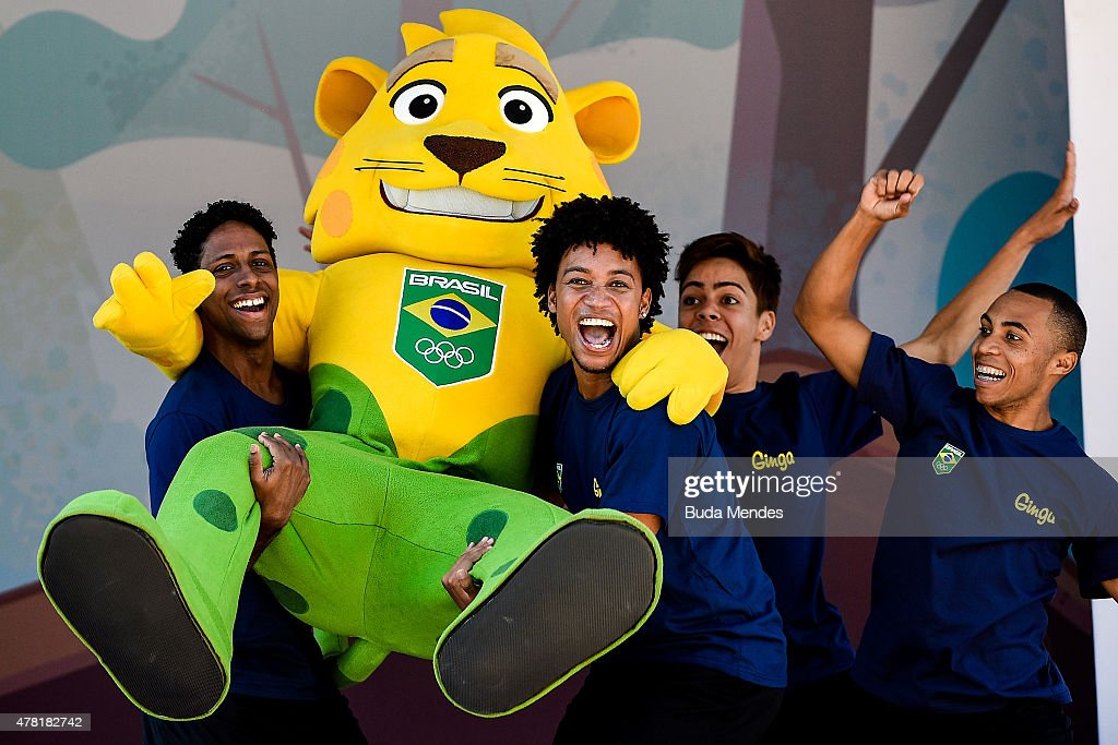 Brazilian national teams mascot Ginga is introduced by the Brazilian Local Organizing Committee at Parque Aquatico Maria Lenk on June 23, 2015 in Rio de Janeiro, Brazil.
