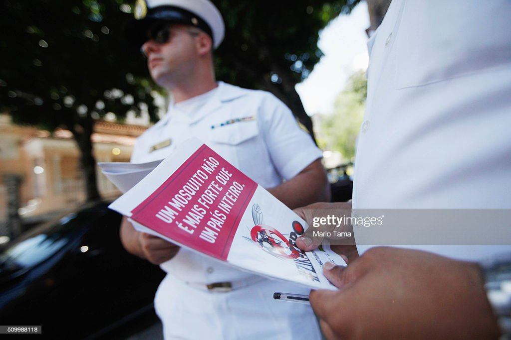 Brazilian Navy prepare to pass out pamphlets warning of the dangers of the Zika virus and how to protect against mosquitos on February 13, 2016 in Rio de Janeiro, Brazil. 220,000 Brazilian military troops were deployed today in a mobilization across country to warn of the dangers of the mosquito-borne virus which may be linked to microcephaly.