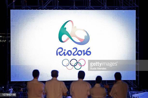 Brazilian Olympic Committee president Carlos Arthur Nuzman International Olympic Committee President Jaques Rogge Rio mayor Eduardo Paes the...