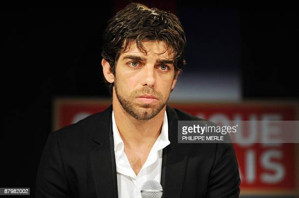 Brazilian Olympique Lyonnais' captain and midfielder Juninho attends a press conference to announce his departure from his current team on May 26...