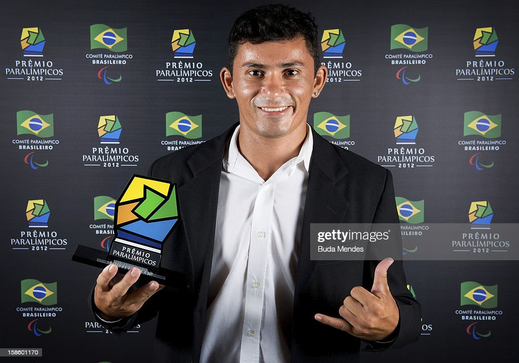 Brazilian Paralympic Francisco Macicledes Barbosa Cordeiro pose for a photo during the ceremony of Paralympics Award 2012 at the Marina da Gloria on December 19, 2012 in Rio de Janeiro, Brazil.