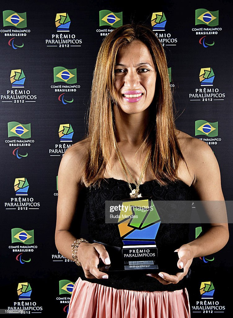Brazilian paralympic Lucia da Silva Teixeira pose for a photo during the ceremony of Brazil Paralympics Award 2012 at the Marina da Gloria on December 19, 2012 in Rio de Janeiro, Brazil.