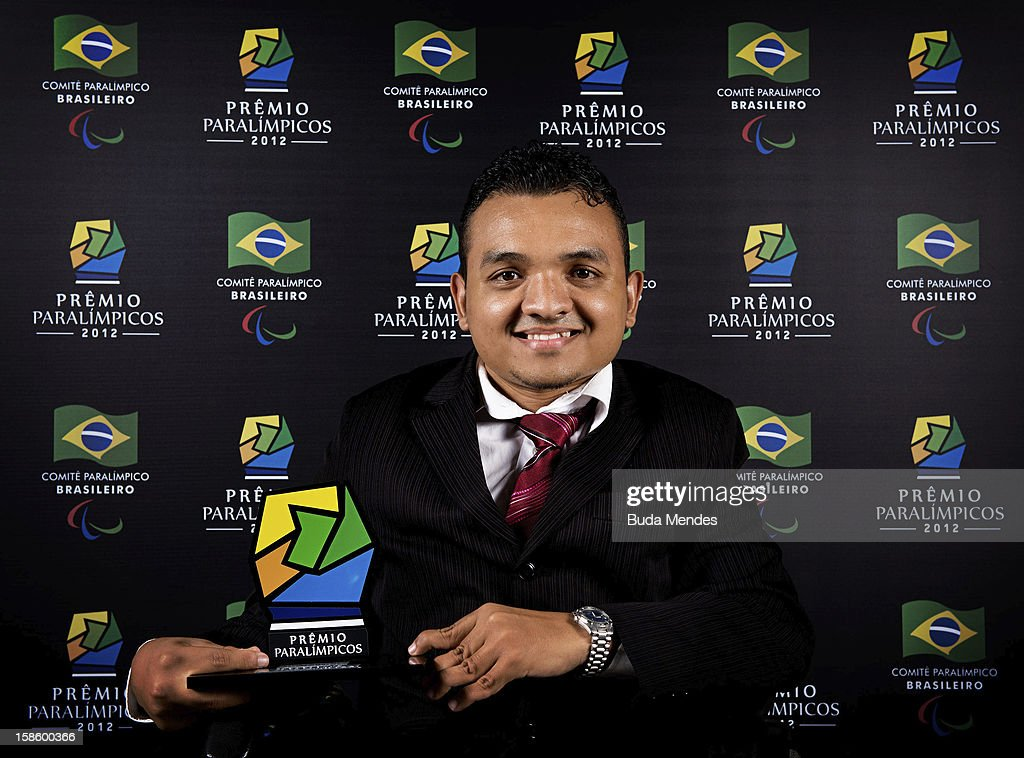 Brazilian Paralympic Maciel de Souza Santos pose for a photo during the ceremony of Brazil Paralympics Award 2012 at the Marina da Gloria on December 19, 2012 in Rio de Janeiro, Brazil.
