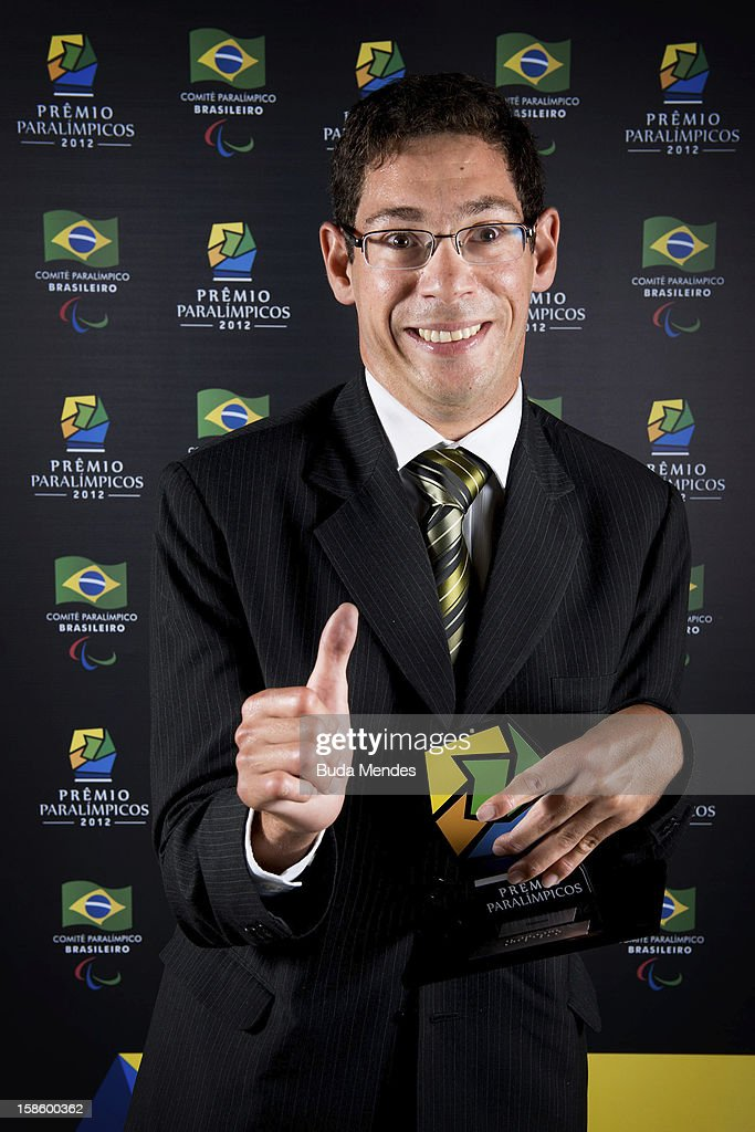 Brazilian paralympic Sergio Fres Ribeiro de Oliva pose for a photo during the ceremony of Brazil Paralympics Award 2012 at the Marina da Gloria on December 19, 2012 in Rio de Janeiro, Brazil.