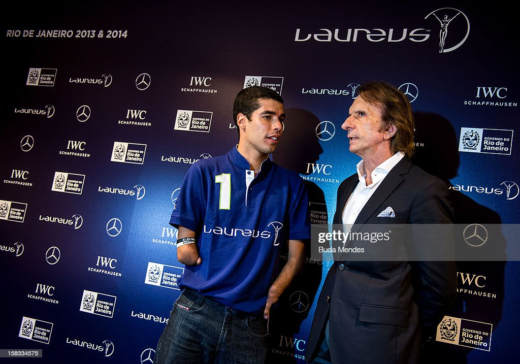 Brazilian Paralympic swimmer Daniel Dias and Emerson Fittipaldi during a press conference to announce the Nominees for the 2012 Laureus World Sports Awards at Windsor Atlantica Hotel on December 13, 2012 in Rio De Janeiro, Brazil. The Laureus World Sports Awards is recognised as the premier honours event in the international sporting calendar as stars of the sporting world come together to salute the finest sportsmen and sportswomen of the year. (Photo by Buda Mendes/Getty Images For Laureus) Daniel Dias, Emerson Fitipaldi