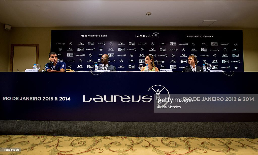 Brazilian Paralympic swimmer Daniel Dias, Edwin Moses, Sports Secretary of Rio de Janeiro Marcia Lins and Emerson Fittipaldi during a press conference to announce the Nominees for the 2012 Laureus World Sports Awards at Windsor Atlantica Hotel on December 13, 2012 in Rio De Janeiro, Brazil. The Laureus World Sports Awards is recognised as the premier honours event in the international sporting calendar as stars of the sporting world come together to salute the finest sportsmen and sportswomen of the year.