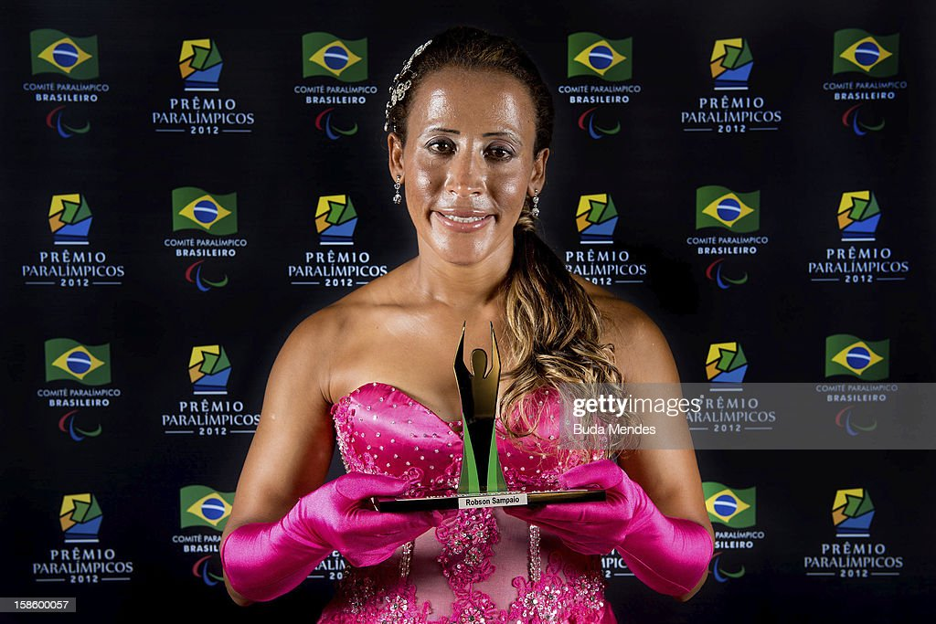 Brazilian paralympic Terezinha Guilhermina pose for a photo during the ceremony of Brazil Paralympics Awards 2012 at the Marina da Gloria on December 19, 2012 in Rio de Janeiro, Brazil.